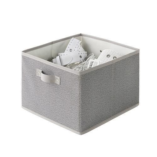 Create the organization you deserve this year with the Neatfreak Twill Collapsible Bin. These handy little bins are perfect for placing all of your accessories, documents, toys and other small items and tucking them away up on a shelf, under a dresser or in a storage cubby. The simple and contemporary grey colour, and front facing handle is great for puling off of bookshelves and storage units. use this sophisticated bin anywhere in your home for a perfectly organized and stylish look!