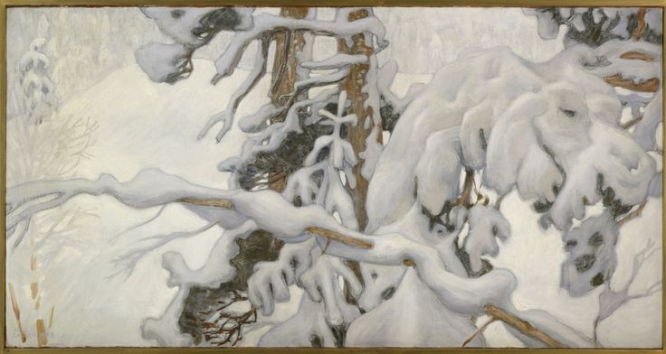 Akseli Gallen-Kallela, Winter, 1902, Study for the Frescoes of the Mausoleum of Sigrid Jusélius (1887-1898) in Pori, Tempera on canvas, 76 x 144 cm, Ateneum Art Museum, Helsinki