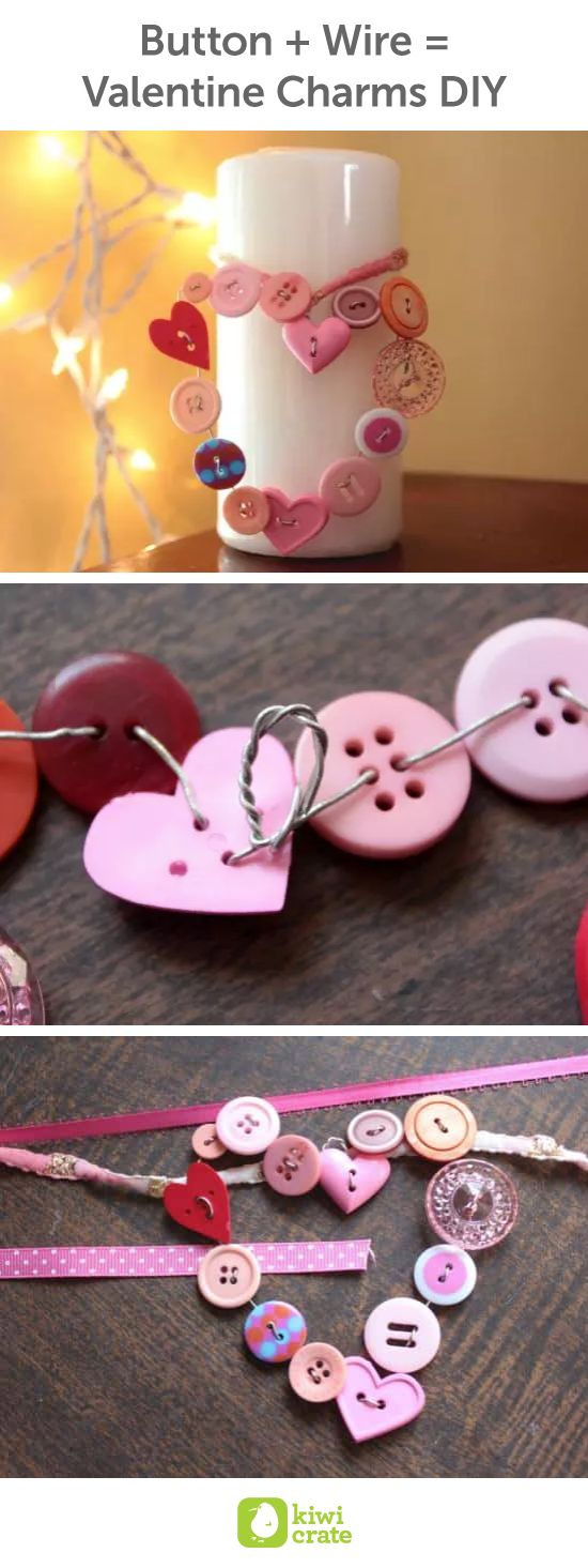 Button + Wire = Valentine Charms DIY! Pinks and purples and hearts and buttons??? Or even reds and greens and browns? Yes, please!