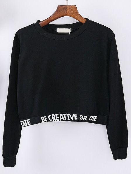 Sweat-shirt court motif lettres -Noir -French SheIn(Sheinside)