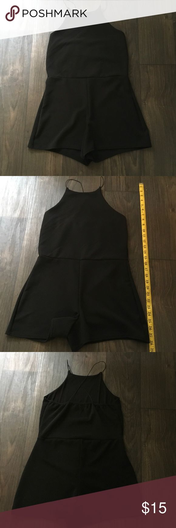 """Black Romper HOST PICK """"Fashion Favorites Party""""! New without tag, cross strap back, shorts romper. 95% Polyester 5% Elastane Shorts"""