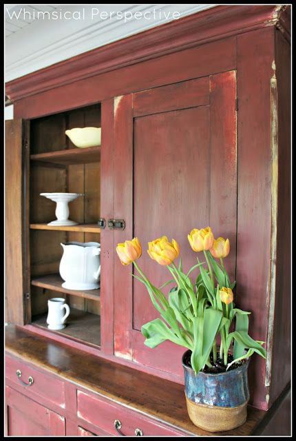 Primer Red and Cream Chalk Paint® decorative paint by Annie Sloan with Clear and Dark Wax | By Whimsical Perspective