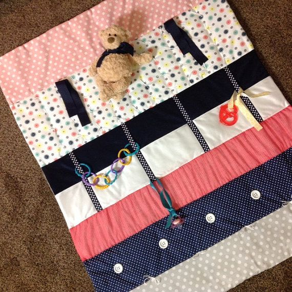 Play Mat  Tummy Time Baby Quilt  Baby Sensory by TinyLittleDots2