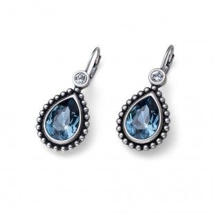 Oliver Weber Women lovely blue earrings antique drop with Swarovski Crystals