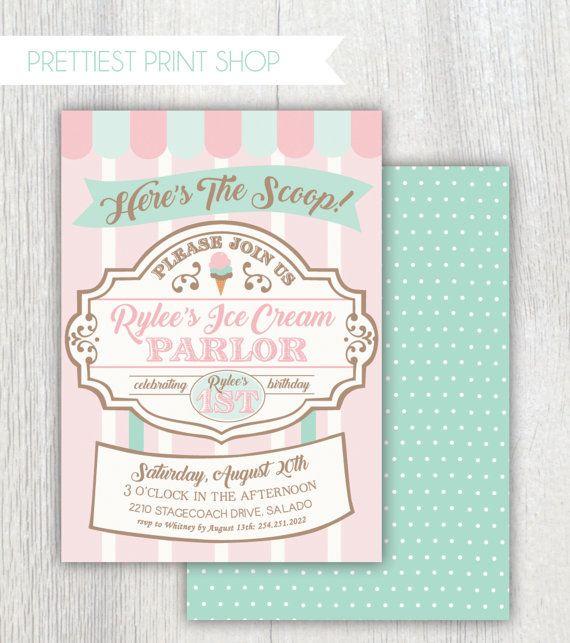Printable ice cream parlor invitation by PrettiestPrintShop