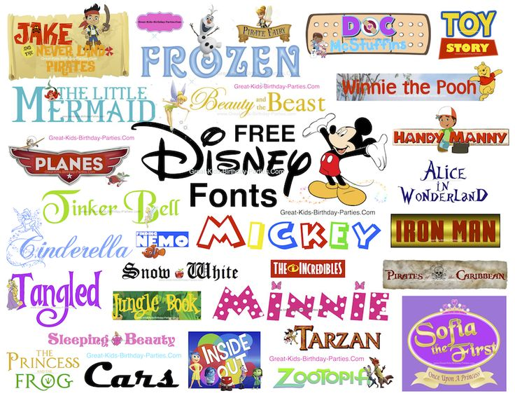 Free Disney Fonts- more than 85 Disney Fonts, including Disney Princess, Mickey, Minnie, Frozen and lots more.  Get creative with these cool Disney fonts and make invitations, party labels, stickers, scrapbooking.