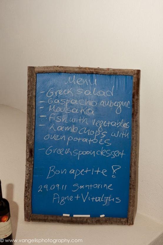 Santorini Greece Wedding + Menu Board {Vangelis Photography}