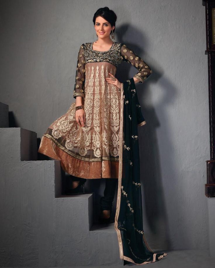 $110.84 Brown Net A Line Long Anarkali Salwar Kameez 21980