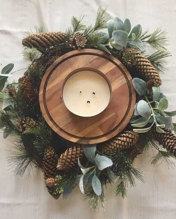 Rustic Wreath Lambs Ear Pine Cones Winter Etsy Rustic Wreath Silk Flower Wreaths Wreaths