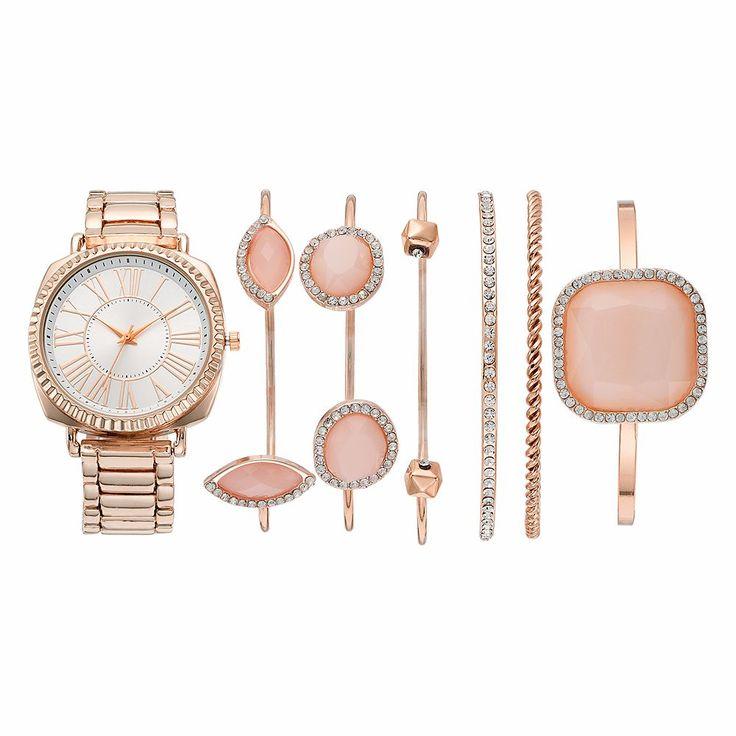 Women's Crystal Watch & Geometric Stone Bracelet Set, Size: Medium, Pink