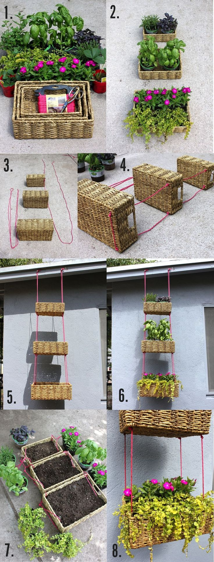 Hanging basket garden: A great project for renters, apartment dwellers, or anyone who wants to enjoy just a little bit more greenery. It's a low risk project as you don't have to dig up any bit of ground and it'll keep your plants safe from any number of antagonists. Keep in mind where you want to hang your vertical garden when choosing your plants to give them their best chance.