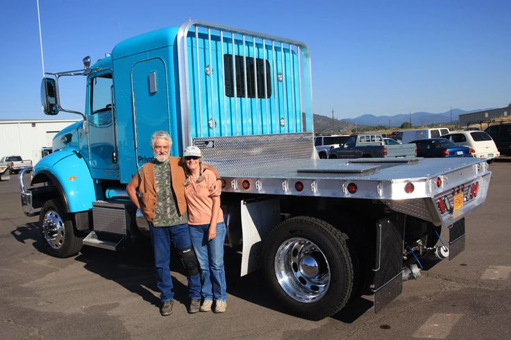 This is the second aluminum truck flatbed for this happy couple. The pull horses around the country year round. See Highway Products web site for more pictures of their all aluminum flatbeds for trucks.
