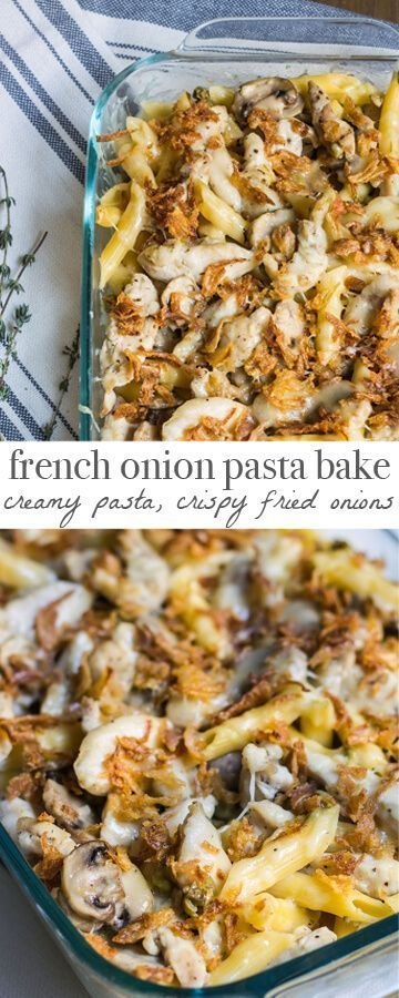 French Onion Pasta Bake - A warm and cozy meal reminiscent of French onion soup! Recipe via http://MonPetitFour.com