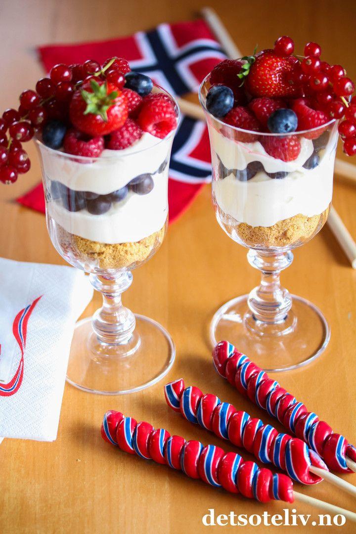 Ostekake på glass til 17. mai | Det søte liv