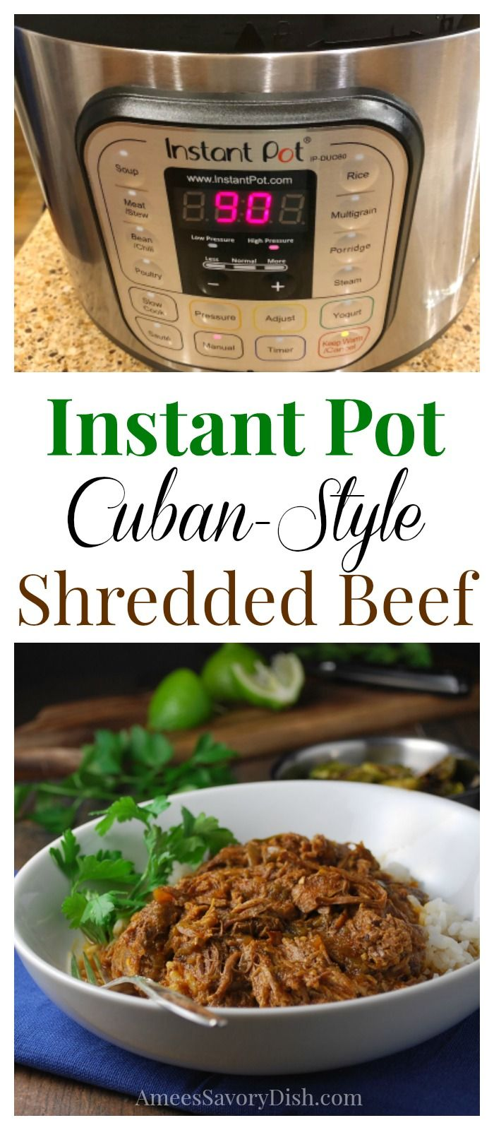 Instant Pot Cuban-Style Shredded Beef recipe #instantpot #instantpotbeef #beefrecipe