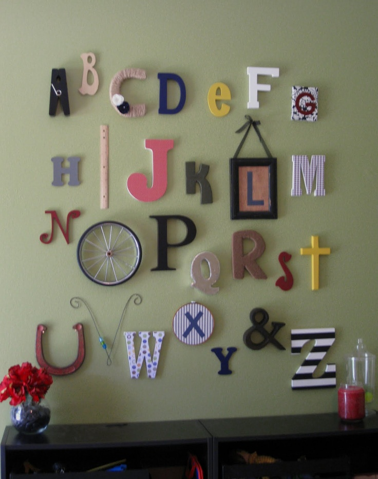 Alphabet wall letters for alphabet wall pinterest for Wall letters kids room