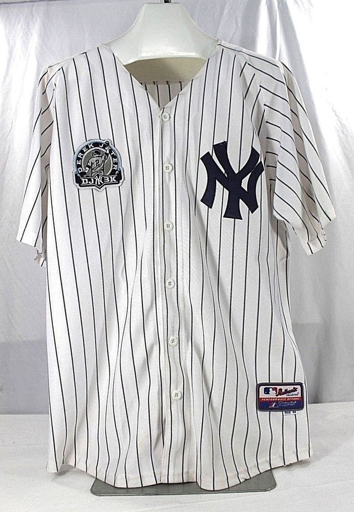 d5aea2769 New York Yankees Derek Jeter  2 White Pinstripes Majestic Cool Base 52 DJ3K  Patch Stitched Letters and Numbers.