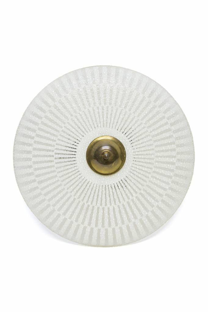 Glazen hanglamp, helder kleurige schaal met witte print, ca. 1950
