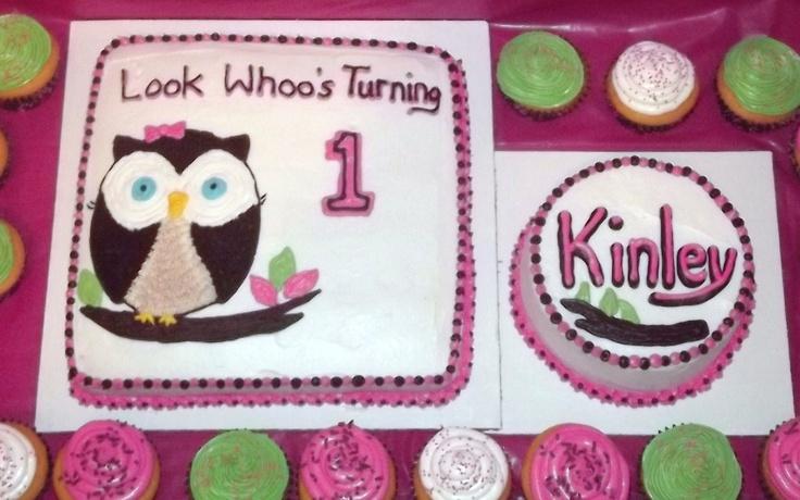 Owl 1st birthday cake with smash cake