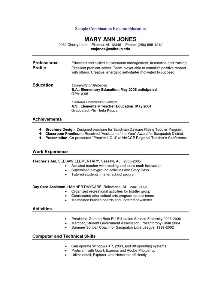 Free Combination Resume Template  Free Resume And Customer
