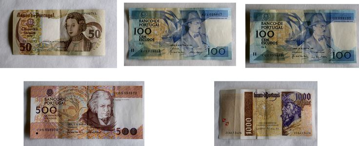 7.002 Conjunto de 5 notas: 50$00 Ch.9 (28/05/1968) Infanta D. Maria, de 100$00 Ch.9 (16/10/1986) Fernando Pessoa, de 100$00 Ch.9 (26/05/1988) Fernando Pessoa, de 500$00 Ch.12 (13/02/1992) Mouzinho da Silveira e de 1000$00 Ch.13 (07/11/2000) Pedro Álvares Cabral.