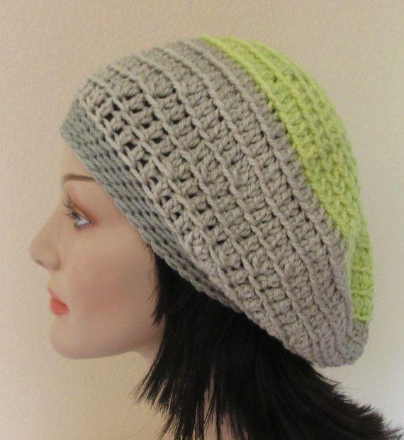 Crochet Slouchy Beanie Hat Grey Slouchy Hat Slouch Hat