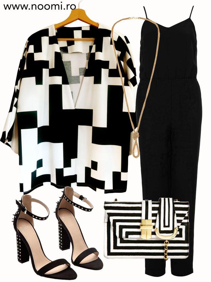 Tinuta de seara cu blazer-ul kimono creat de Noomi, salopeta neagra si sandale cu tinte.