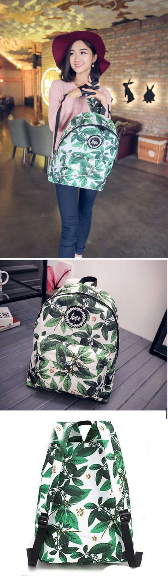 New Arrival Cute Simple Casual Oxford Cloth Backpack& Leaves Pattern Printed Schoolbag, backpacks for girls, pink backpack, mini backpack, cool backpacks, backpacks for women, leather backpack, travel backpack, laptop backpack, school backpacks, cute backpacks, hiking backpack, bookbags, waterproof backpack,