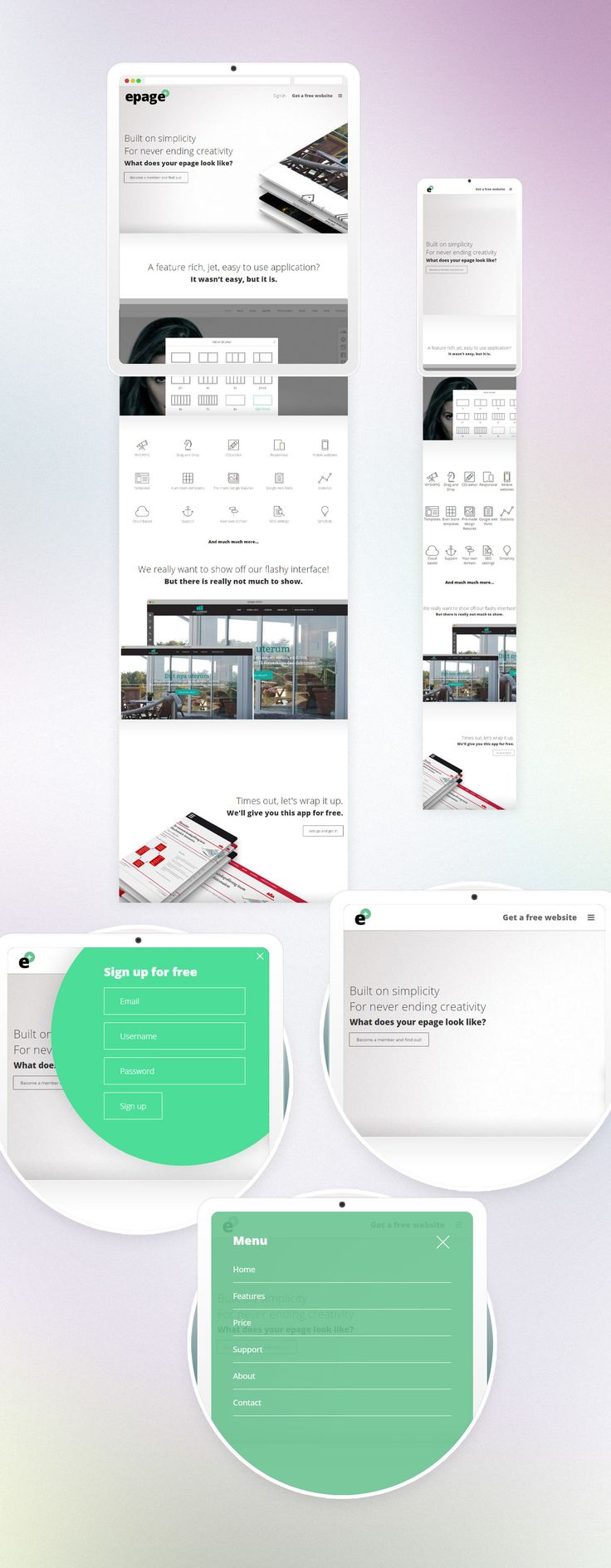 epage product / promo site on Behance