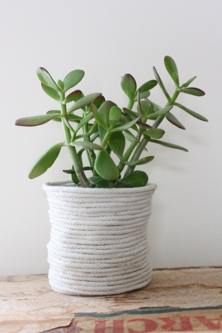Don't want to repot your plant? No worries! Keep the plant in its plastic container and make this rope pot!