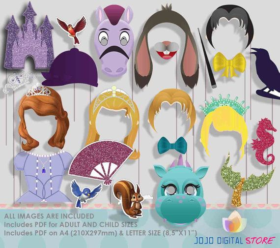 Sofia the first Party Photo Booth Props by IraJoJoBowtique on Etsy
