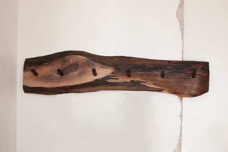 woodland coat rack with chiseled square pegs