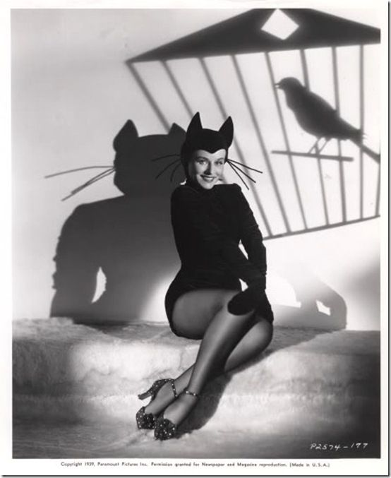Classic Hollywood actress Paulette Goddard, vintage Halloween pin-up girl photo