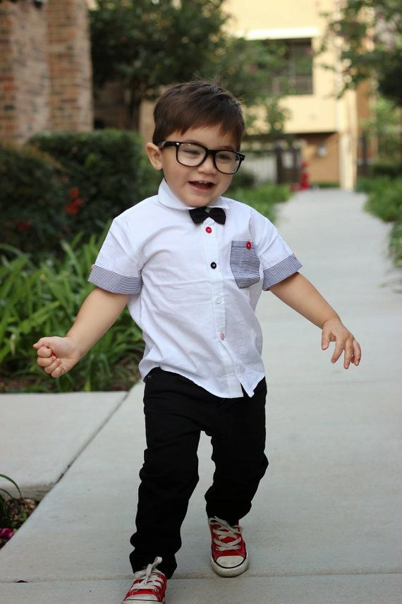 Toddler boy white dress shirt with black bow tie by BabyBoosh ...