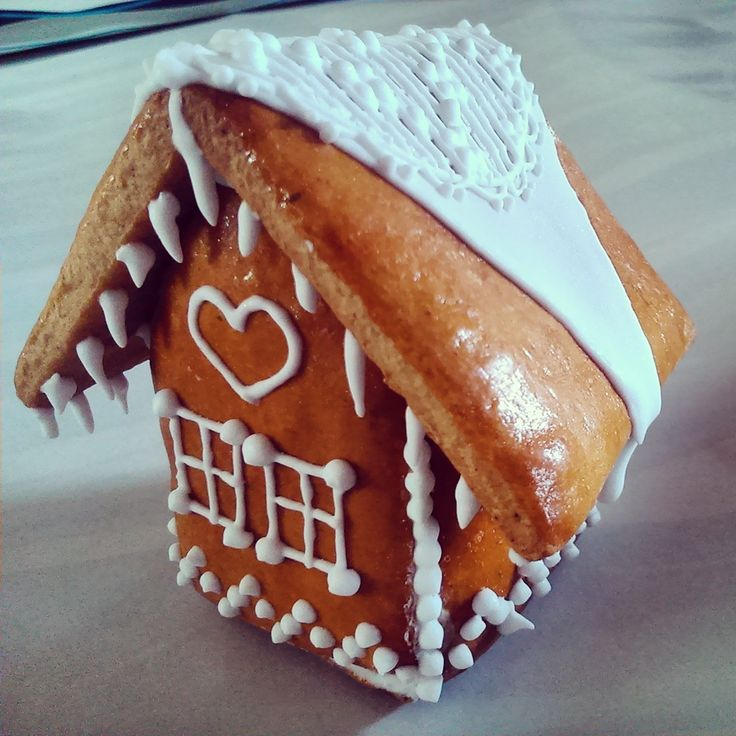 Father Frost's house made of honey cookies and decorated by sugar glaze
