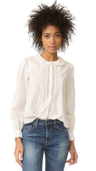La Vie Rebecca Taylor Long Sleeve Pop Collar Top, xs