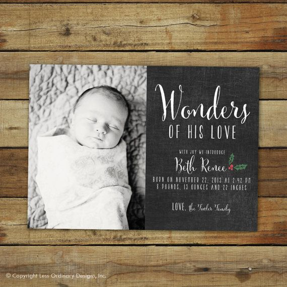 Wonders of His Love, chalkboard style Christmas card and birth announcement - 2013