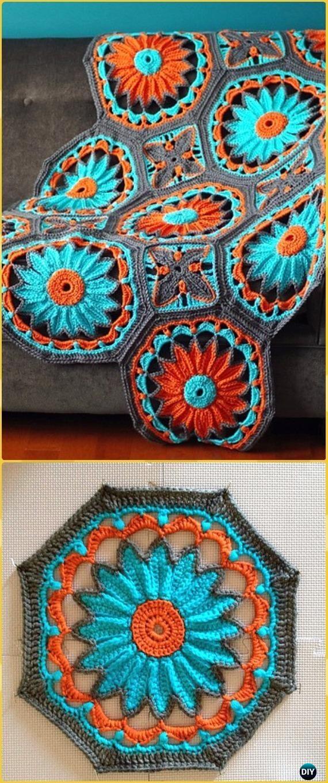 Crochet Octagon Daisy Afghan Paid Pattern - Crochet Daisy Flower Blanket Free Patterns