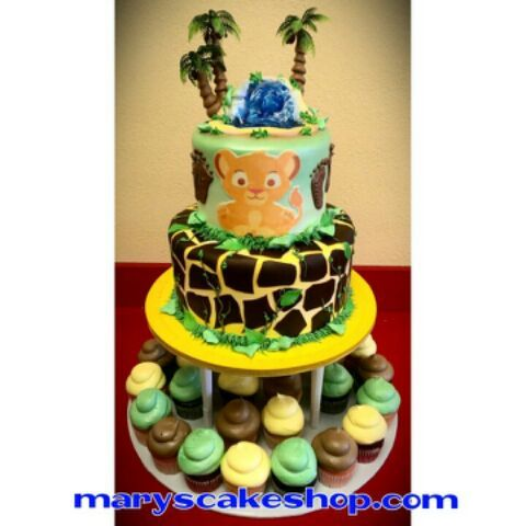 High Quality Lion King Baby Shower Cake And Cupcakes