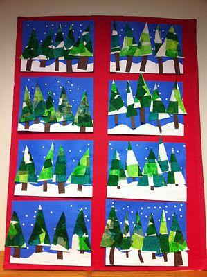 zimní stromy - hedvábný papír