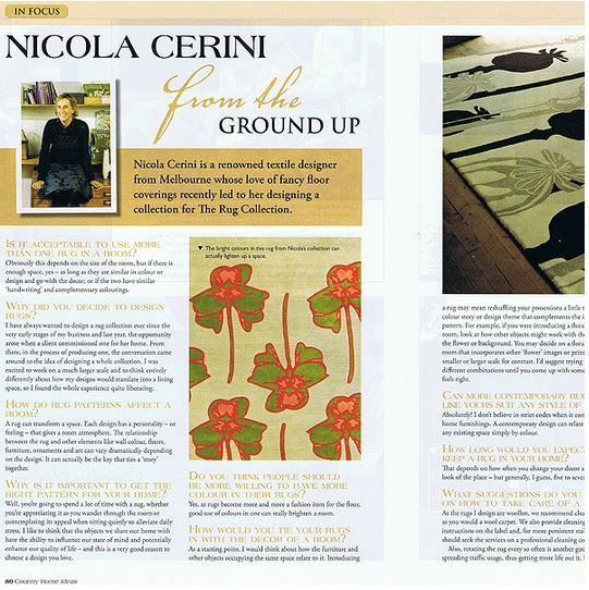 Found this article from many years ago. This was our first collection with Nicola Cerini, many successful rug designs later we are set to release a third collection in 2014!! Stay tuned!! #TheRugCollection