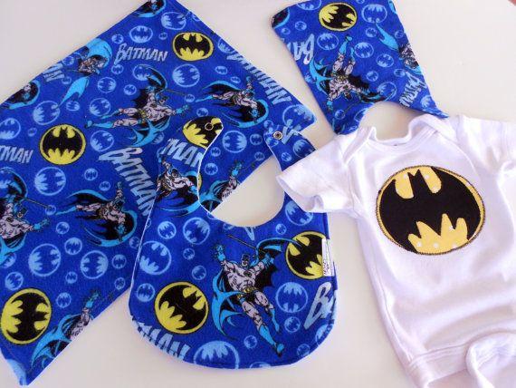 FREE USA SHIPPING, Appliqued Batman Onesie attached Cape, Burpcloth & Bib set, Boy bibs, Super Hero onesie, Batman Baby Shower on Etsy, $39.00