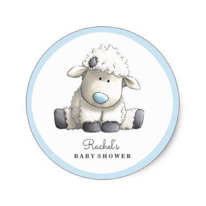 Baby Lamb Blue Baby Shower Sticker | Zazzle.com