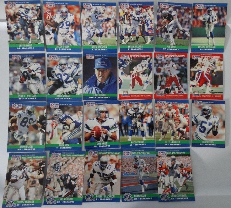 1990 Pro Set Series 1 & 2 Update Seattle Seahawks Team Set 23 Football Cards #SeattleSeahawks