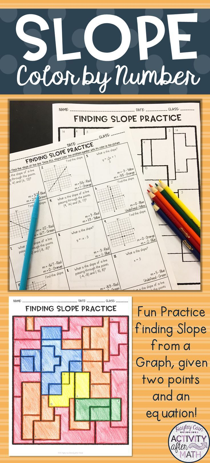 Finding Slope From A Graph Given Two Points And An Equation Coloring Activity Finding Slope High School Activities Math