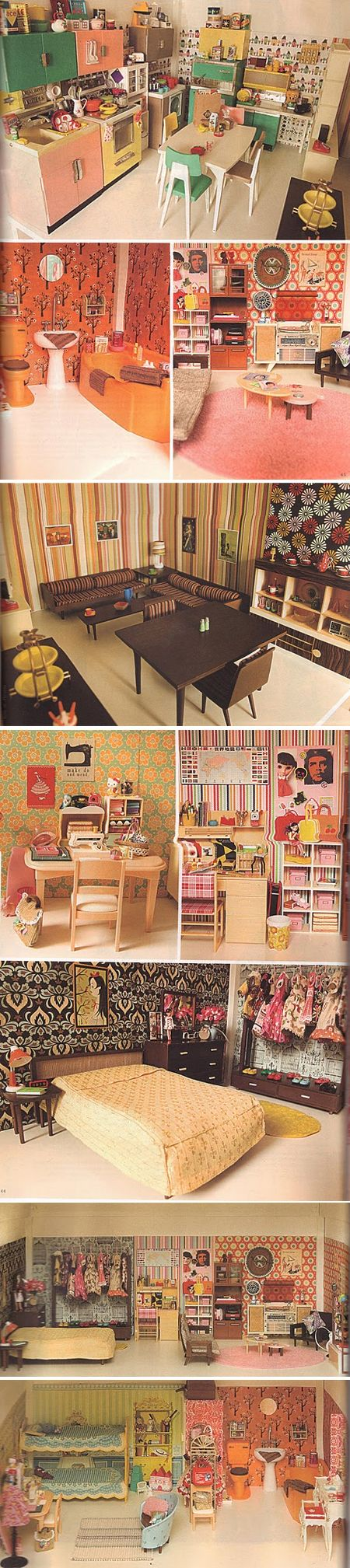 Hip Seventies Dollhouse.  Fantastic Wallpaper and Mid-Century Furniture.  georgiasmith