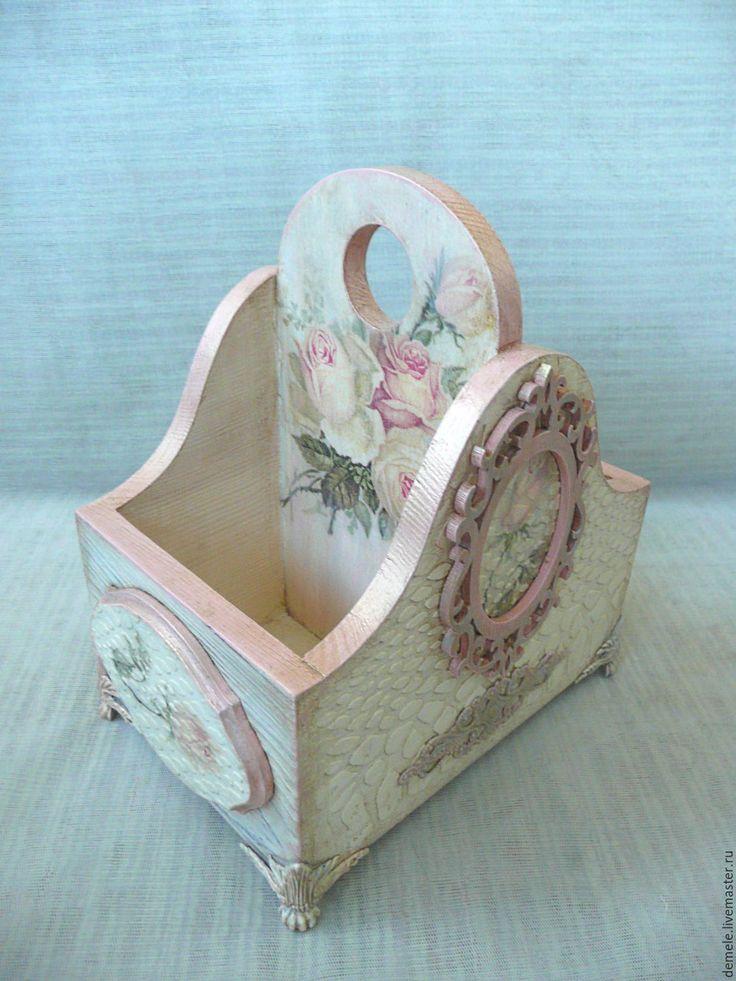 """Купить Подставка  """" Винтажные розы"""", подставка универсальная, деревянная - бежевый, подставка для карандашей, подставка"""