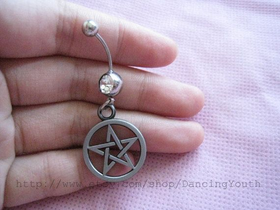 Cute Five-pointed star Charm Belly Button Ring, Crystal Belly Ring,