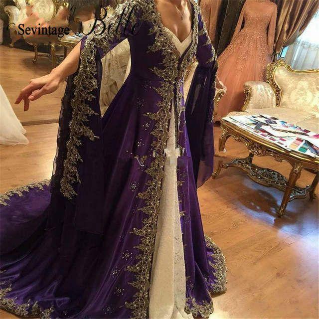 Online Shop فستان سهرة قفطان تركي من Sevintage فستان مسلم بأكمام طويلة دبي فساتين حفلا Long Sleeve Wedding Dress Lace Muslim Evening Dresses Prom Gowns Elegant