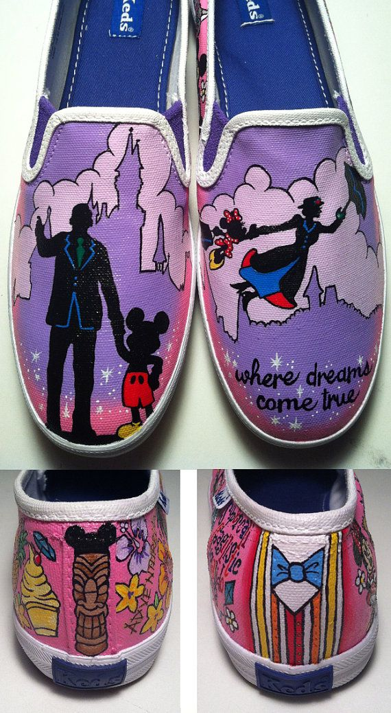 Disneyland and Mary Poppins Shoes by KissaThisArt on Etsy, $135.00